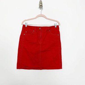 Ann Taylor Five-Pocket Red Denim Skirt 6 #4293